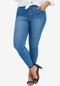 Skinny Jeans with Invisible Stretch® Waistband by Denim 24/7®, DENIM LEOPARD, hi-res