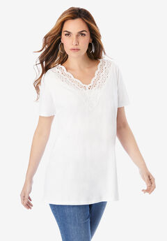 Lace-Trim Embroidered Tee,