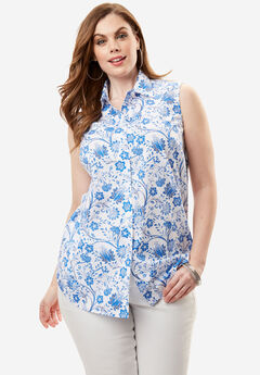 Kate Sleeveless Shirt, BRIGHT COBALT PRINT, hi-res
