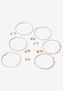Hoop Earring & Stud Set, MULTI, hi-res