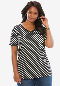 Ultimate V-Neck Tee, WHITE BLACK STRIPE, hi-res