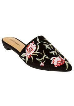 The Marley Mule by Comfortview®, BLACK VELVET EMBROIDERY