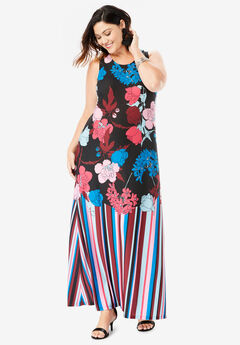Print Maxi Dress, MULTI GRAPHIC FLORAL PRINT
