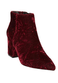 The Jasmine Bootie by Comfortview®, BURGUNDY VELVET