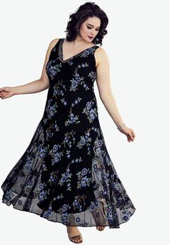 Floral Embroidered Dress, BLUE FLORAL, hi-res