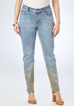 Foil Print Jean with Invisible Stretch® by Denim 24/7®, OMBRE ANIMAL, hi-res