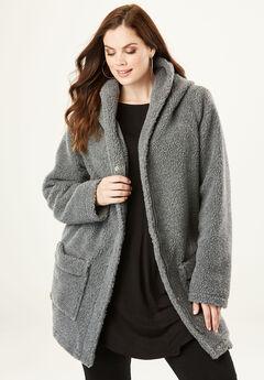 Hooded Textured Fleece Coat, MEDIUM HEATHER GREY, hi-res