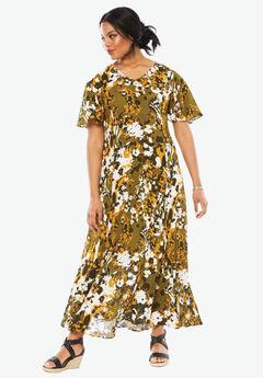 Crinkle Short Sleeve Maxi Dress, GREEN FLORAL PRINT, hi-res