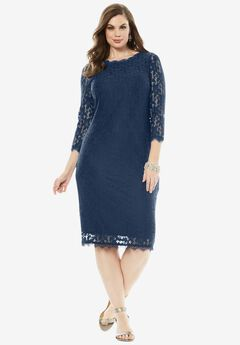 Lace Sheath Dress, NAVY, hi-res