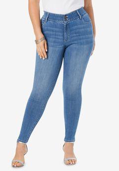 The Skinny-Leg Curvy Jean by Denim 24/7®, LIGHT STONEWASH