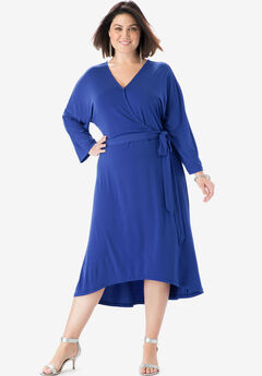 Dolman-Sleeve Wrap Dress with High-Low Hem, BLUEBERRY