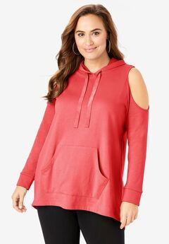 Cold-Shoulder Hooded Pullover,