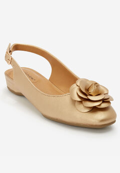 Jessa Slingback Flat by Comfortview®, GOLD