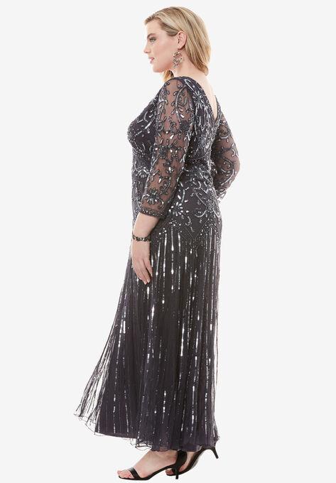 Beaded V Neck Dress By Pisarro Nights Plus Size Evening Dresses