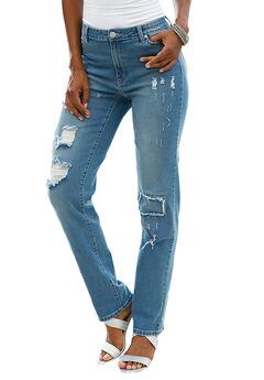 Distressed Jeans by Denim 24/7®, LIGHT STONEWASH, hi-res