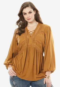 Lace Peasant Top with Crochet Detail, BURNT GOLD, hi-res