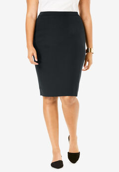 Suiting Pencil Skirt, BLACK