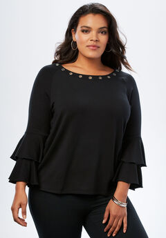 Fleece Bell-Sleeve Top,