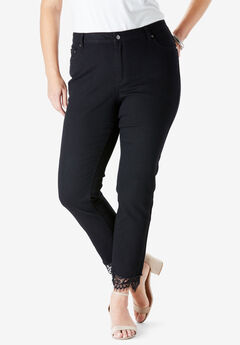 Lace-Hem Skinny Jean By Denim 24/7®,