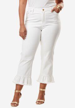 Ruffle Crop Jean by Denim 24/7®, WHITE, hi-res