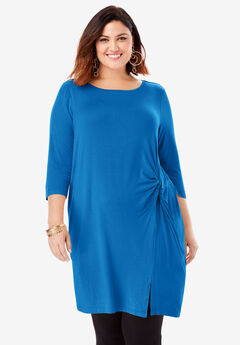 Side-Knot Drape Super Tunic with Asymmetric Detail,