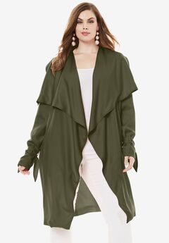 Belted Trench Coat, DARK OLIVE GREEN, hi-res