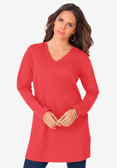 Long-Sleeve V-Neck Ultimate Tunic, SOFT GERANIUM