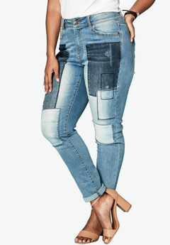 Patchwork Jean with Invisible Stretch® Waistband by Denim 24/7®,