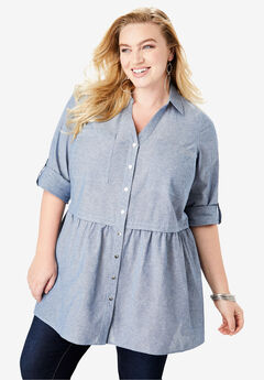 Chambray Babydoll Tunic, MEDIUM STONEWASH