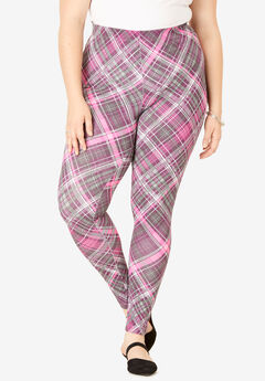 Essential Stretch Legging, BERRY PLAID