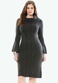 Bell-sleeved Sweater Dress, HEATHER CHARCOAL, hi-res