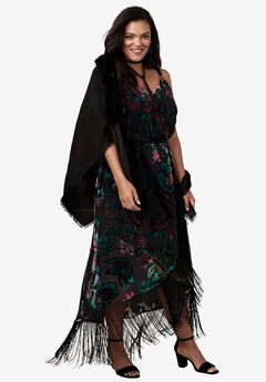 Faux Fur Pashmina With Fringe,