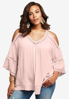 Cold Shoulder Top, PALE BLUSH, hi-res