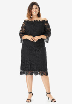 Off-The-Shoulder Lace Dress with Bell Sleeves, BLACK