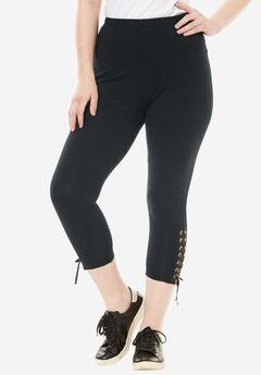 Lace Up Leggings, BLACK, hi-res