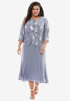 Sequin Jacket Dress by Alex Evenings, STEEL BLUE, hi-res