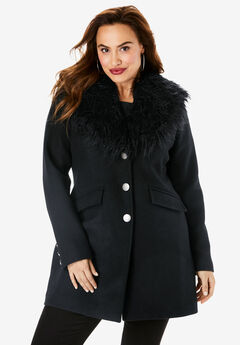 Short Wool-Blend Coat, BLACK