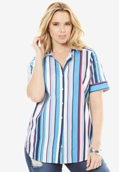 Kate Short-Sleeve Shirt, MULTI STRIPE, hi-res