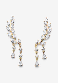 Goldtone Marquise Cut Ear Climber Drop Earrings Cubic Zirconia (3 cttw TDW),