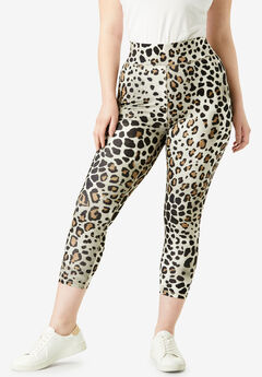 Capri Performance Legging with Wide Waistband, NATURAL TEXTURED ANIMAL