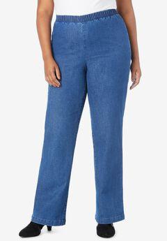 Wide-Leg Pull-On Stretch Jean by Denim 24/7®, MEDIUM STONEWASH SANDED
