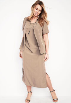 Jacket Dress Set, NEW KHAKI, hi-res