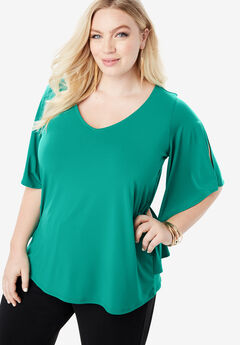 Pleated Overlay Tee with Flutter Sleeves, VIVID EMERALD