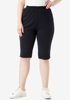 Soft Knit Bermuda Shorts, BLACK, hi-res