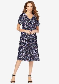 Ultrasmooth® Fabric V-Neck Swing Dress,