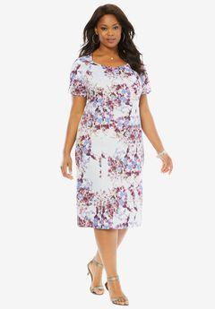 Sheath Dress, BLUEBERRY CREAM FLORAL PRINT, hi-res
