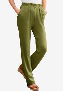 Straight-Leg Soft Knit Pant, MOSS GREEN