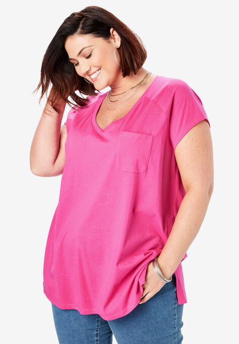 dda3f3189 V-Neck Ultimate Tee| Plus Size Tees & Knit Tops | Roaman's