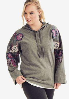 Embroidered Hoodie Sweatshirt, MEDIUM HEATHER GREY, hi-res
