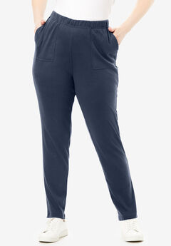 Ankle-Length Soft Knit Pant, NAVY